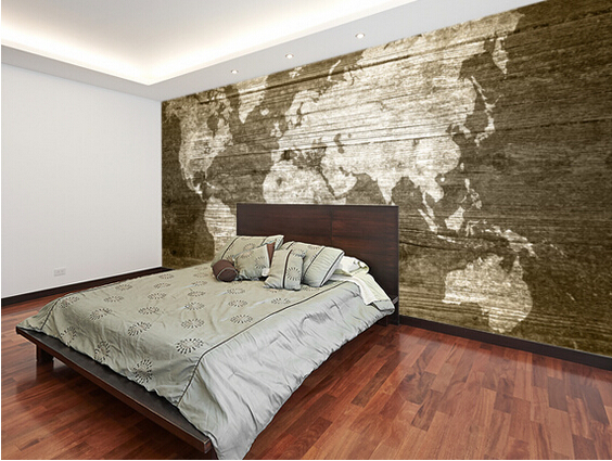 Buy custom texture wallpaper world map on for Wood wallpaper bedroom