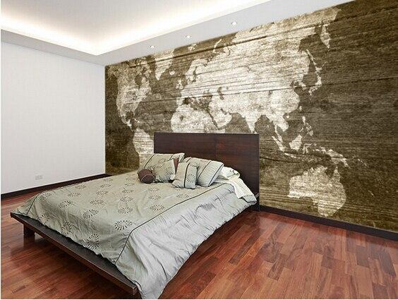 Woonkamer En Slaapkamer : Custom textuur behang wereldkaart op hout 3d wallpaper foto voor