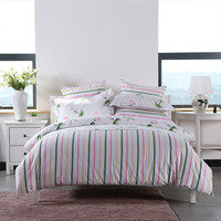 4pcs/set Comforter Bedding Set Pink Rose Pure Romantic Love Colorful Lines Duvet Cover Sheet Pillow Case 100% Cotton 2 Size L/XL