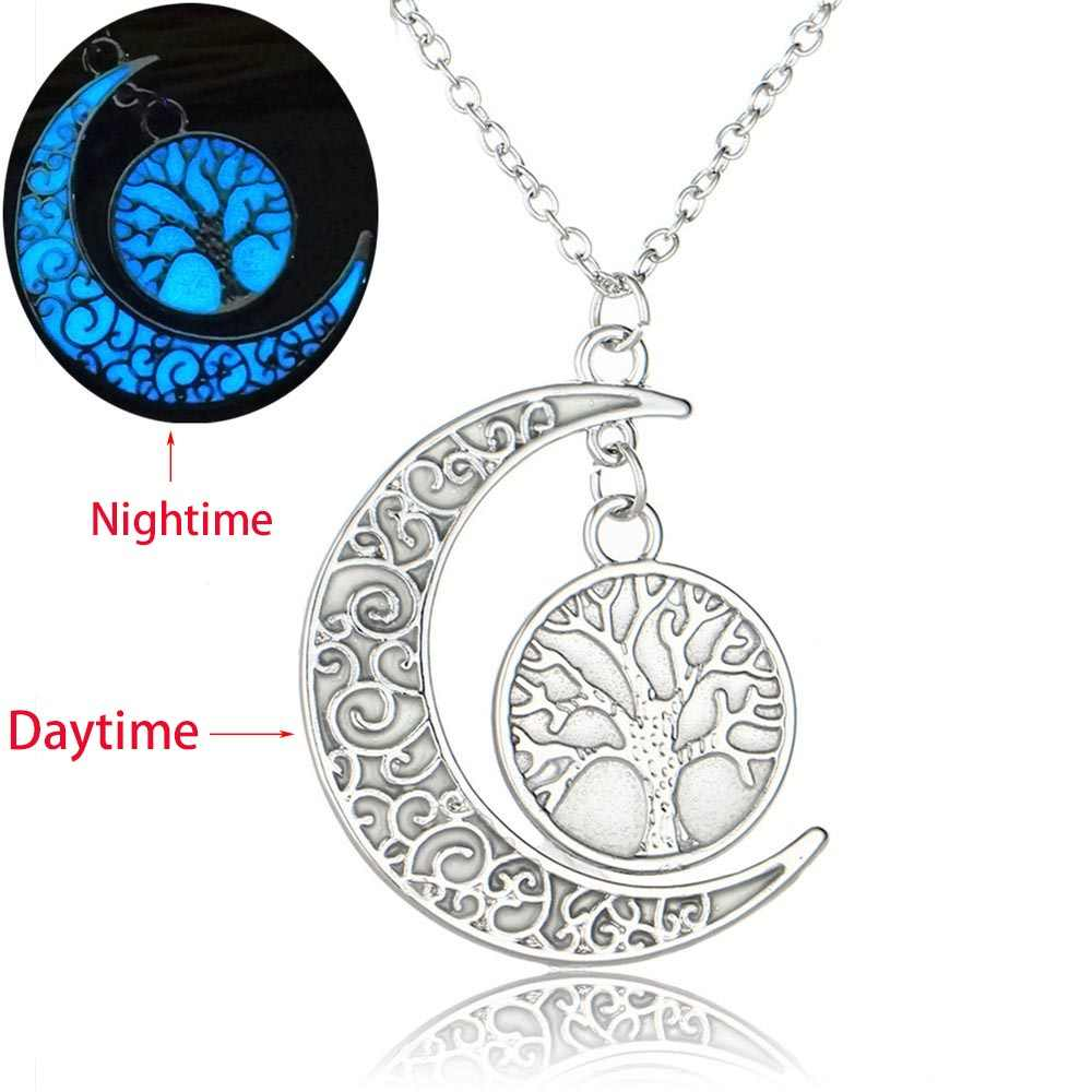 Silver Color Tree of Life Crescent Moon Pendant Necklace Luminous Stone For Women Glow In The Dark Jewelry Gift