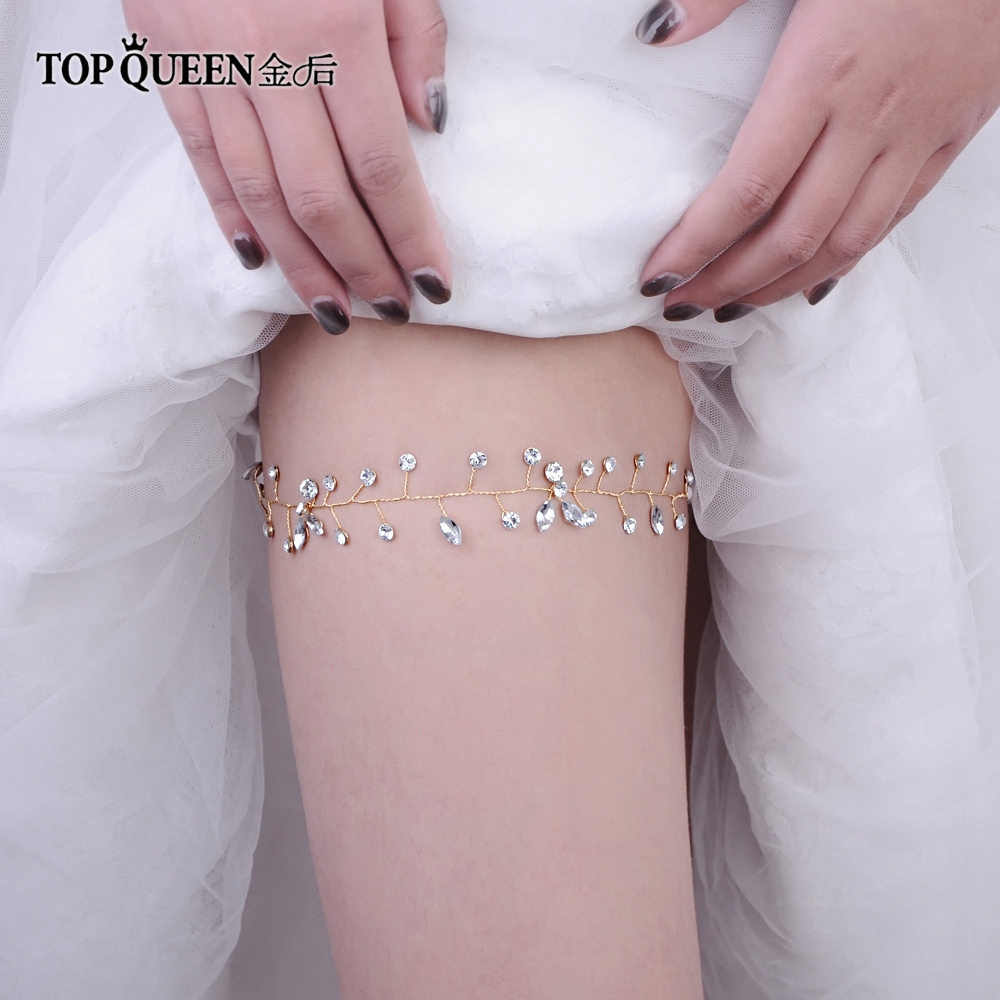 TOPQUEEN T11-G Wedding Garter Rhinestone Crystal White Sexy Leg Ring For Women/Female/Bride Thigh Ring Bridal Leg Garter