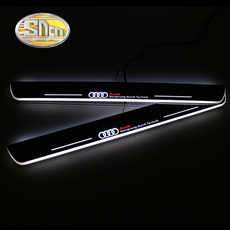 SNCN Waterproof Acrylic Moving LED Welcome Pedal Car Scuff Plate Pedal Door Sill Pathway Light For Audi A7 R7 RS7 2012 - 2015 fsylx led door moving scuff welcome pedal door sill plate light for audi q3 2013 2015 white led pedal light for q7 2006 2015