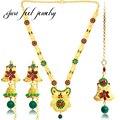 Conjuntos de Jóias Indianas de Bollywood 2017 Banhado A Ouro de luxo Red & Green Cristal Abençoado Kundan Colar Flor Brincos Acessórios