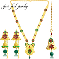 Luxury Indian Bollywood Jewelry Sets 2017 Gold Plated Red&Green Crystal Kundan Blessed Flower Necklace Earrings Accessories