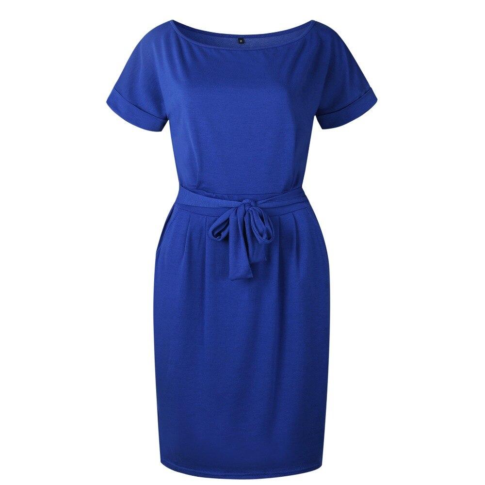 19 New Summer Fashion Women Casual Short Sleeve O-Neck Straight Black Gray Blue Dress Loose Plus Size Pocket Cotton Midi Dress 16