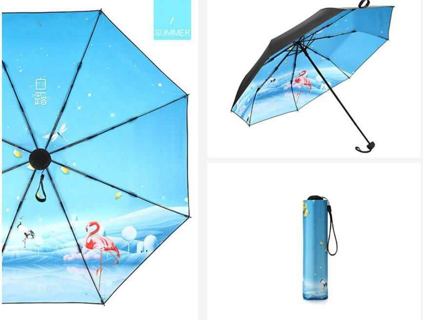 New Sunshine Umbrella Folding Sunshade Umbrella Gift Wholesale Small Fresh Advertisement free shipping in Umbrellas from Home Garden