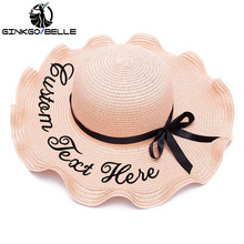 Personalized Custom Text Name LOGO Women Beach hat Sun Hat Lotus leaf shape Large Brim Straw Outdoor Summer Cap