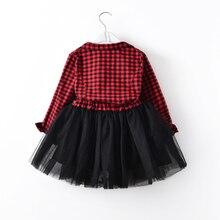Kids Baby Girls Red Plaids Party Tutu Dress Long Sleeve