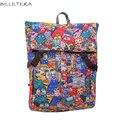 BILLETERA Fashion Canvas Women Backpack Cat Graffiti Printing Backpacks for Teenage Girls School Bag