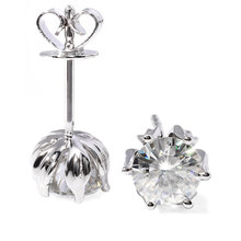 TRANSGEMS 1 ctw Carat Lab Grown Moissanite Diamond Stud Earrings For Women Solid White gold