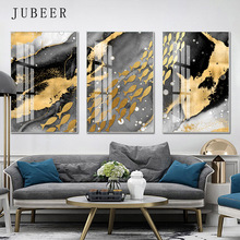Nordic Abstract Canvas Painting Golden Fish Wall Pictures for Living Room Art Decoration Picture Home