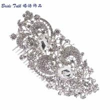 Women Hairpins Accessories Wedding Bridesmaid Flower Hair Comb Tiara Drop Rhinestone Crystals Bridal Jewelry Wholesale COFA2827