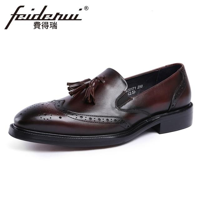a84462a085d22 US $89.0 |Vintage Genuine Leather British Designer Men's Loafers Round Toe  Slip on Carved Handmade Man Formal Dress Brogue Shoes YMX256-in Formal ...