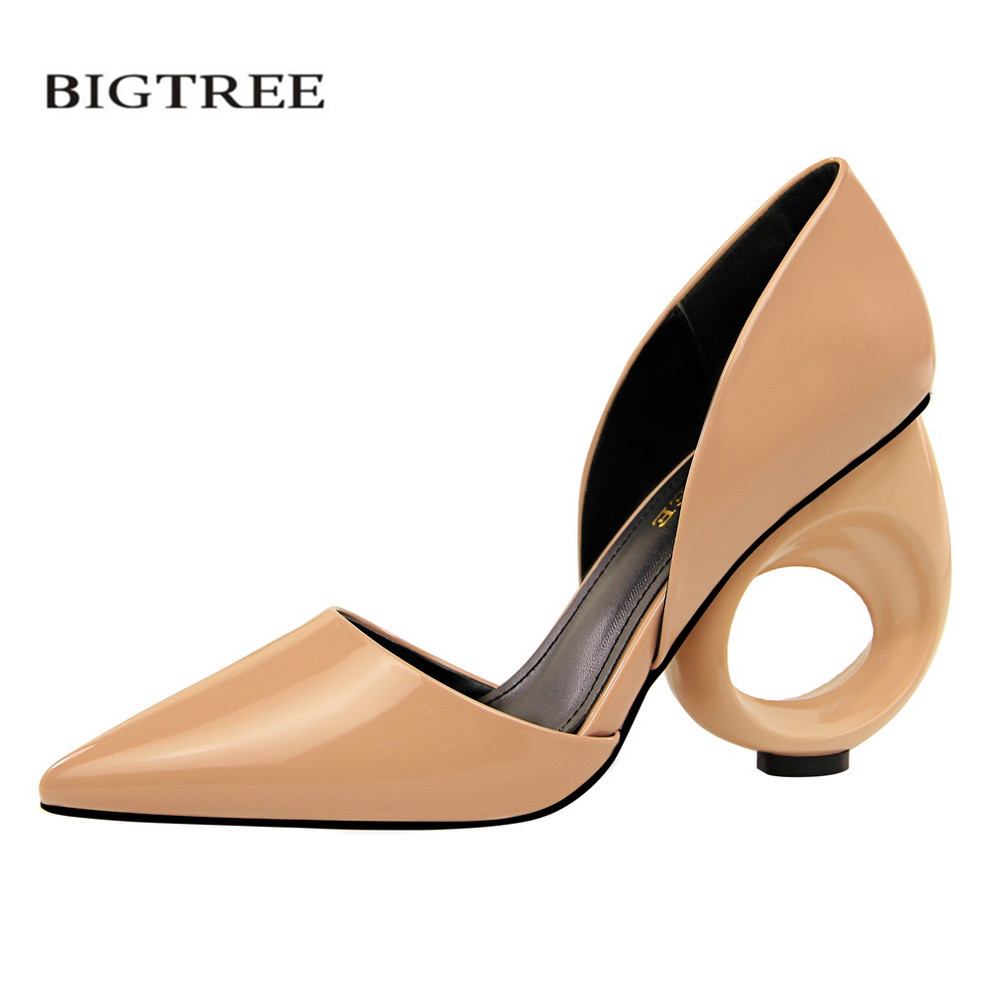 BIGTREE European High-heeled Shoes Hollow Patent Leather Shallow Side Empty Pointed Strange Pumps Sexy Hollow Sandals G610-1