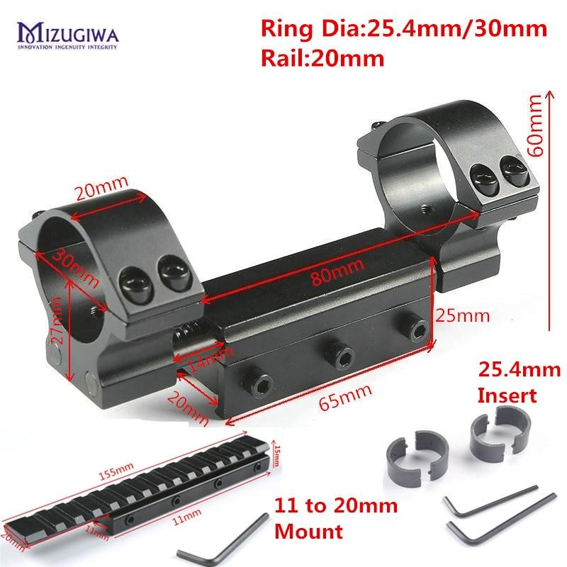 Portée tactique Mont 1 25.4mm/30mm Double Anneaux w/Arrêt Broche 20mm Queue D'aronde Picatiiny rail Weaver + 11mm à 20mm Adaptateur Fusil