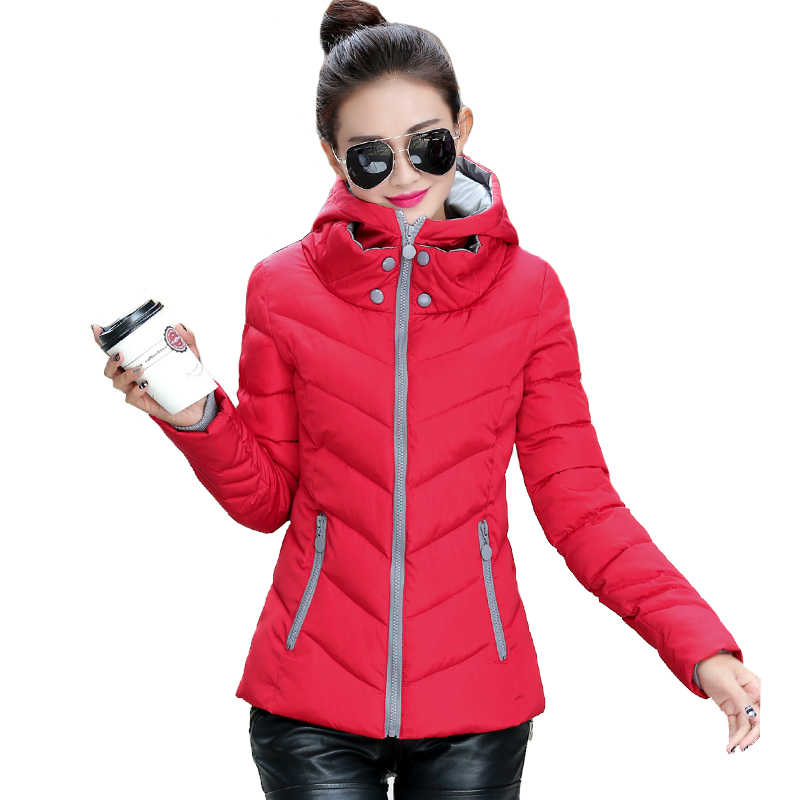 2019 trùm đầu thời trang size lớn 3XL nữ áo khoác mùa đông đứng vững chắc cổ áo nữ cơ bản Áo khoác mùa thu Áo khoác nữ jaqueta Feminina