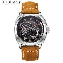 PARNIS hombres Relojes 44mm Mecánico Automático Relojes relogios masculinos Top de Cuero Genuino Reloj de Pulsera Mecánico automático