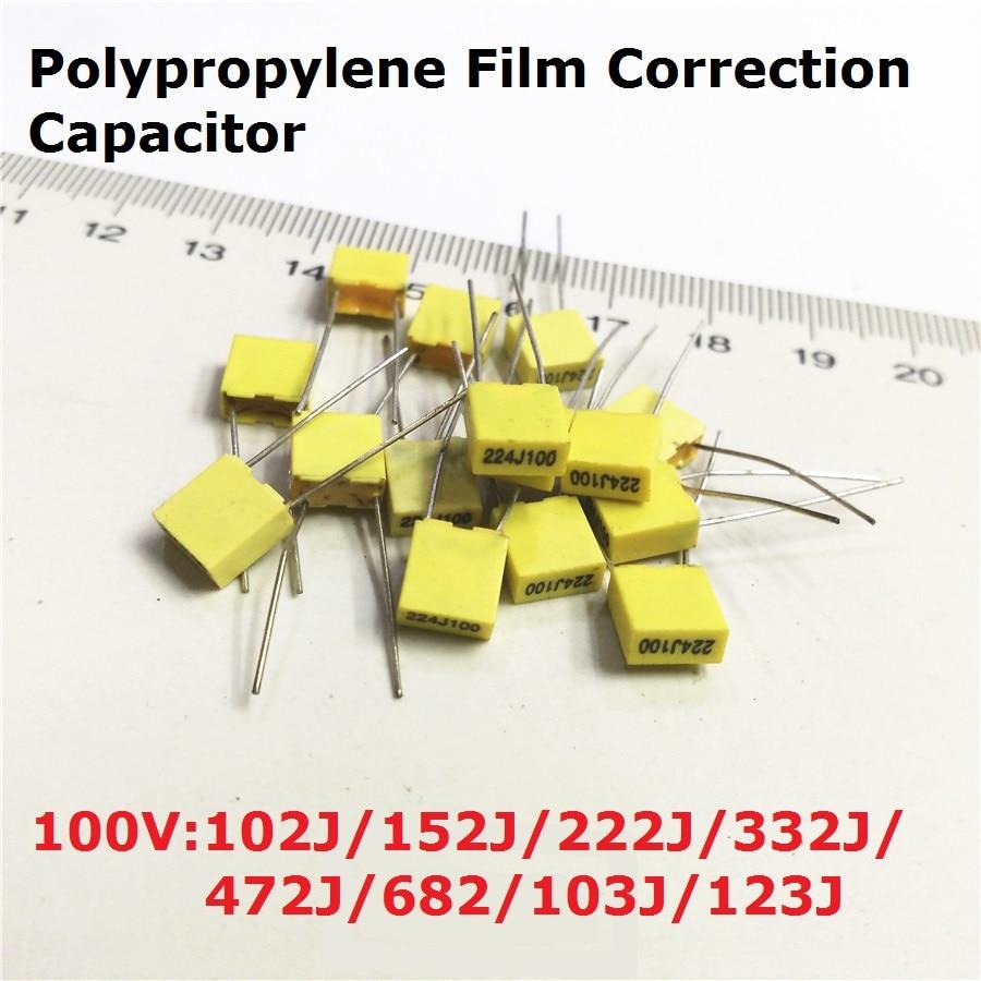 20PC Polypropylene Film Capacitor 100V 102J100 152J100 222J100 332J100 472J100 682J100 103J100 123J100 V  1.5/2.2/3.3/4.7/6.8/NF