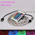 DC 5 V RGB LED tira de Color Cambiante impermeable TV PC PS4 USB RGB 5050 SMD Cinta de la lámpara + control remoto de luz de fondo USB Cable