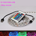 DC 5V RGB LED strip USB Colour Changing waterproof TV PC PS4 Background light RGB 5050 SMD Tape lamp + remote control USB Cable