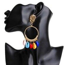 Bohopan 2019 Fashion Natural Shell Drop Earrings For Women Bohemian  big hollow drop earring jewelry Wedding Party Gift