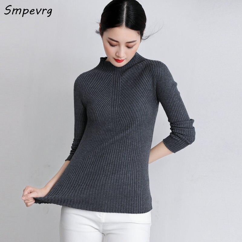 Smpevrg 2017 de la moda de primavera de punto delgado suéter de cuello alto de p