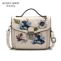 SUNNY SHOP Vintage Ethnic Flower Embroidery Women Messenger Bag 2018 Spring New Mini Sling Bags For Ladies PU Leather Handbags