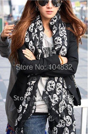 East Knitting FREE SHIPPING+WJ-001 Women's Skulls scarf 2014 fashion  scarves polyester 3 Colors 180*80 wholesale