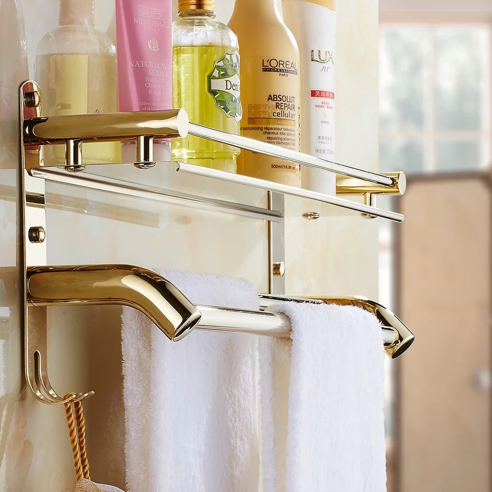 Bathroom Shower Corner Shelves: Gold Bathroom Shower With Towel Bar Corner Shelf Bath