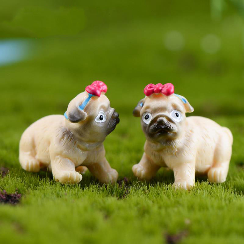 5pcs/set Creative Cute Pug Dog Action Figure Toy Cartoon Animal Dog Simulation Resin Craft Ornaments For Kids Gift
