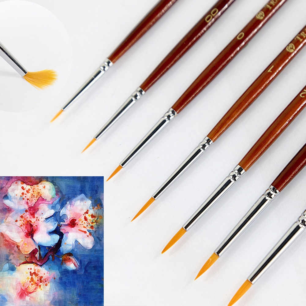 7Pcs Professional Paint Brush Set Sable Hair Detail 7 Miniature Acrylic Brushes Art Painting Drawing Brushes Pen DIY Craft