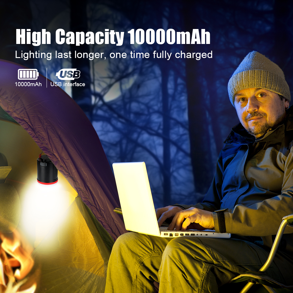 BRILEX LED Lantern Camping Light Camping Lantern Camping Lamp Part Rechargeable Light Lamp Black 3W Lanterns With 18650 Battery