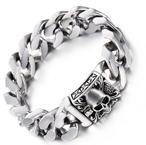 High Quality Men's silver Tone Stainless Steel Cuban Curb Link Chain Skull Clasp Bracelet 20mm 9'' heavy 161g(China)