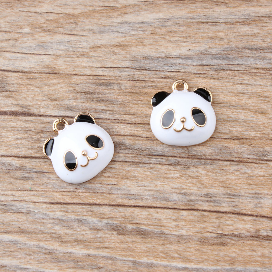 MRHUANG 10 шт./лот милые черные и белые медведи панда животные металлические позолоченные эмалевые Подвески для DIY браслет ожерелье DIY