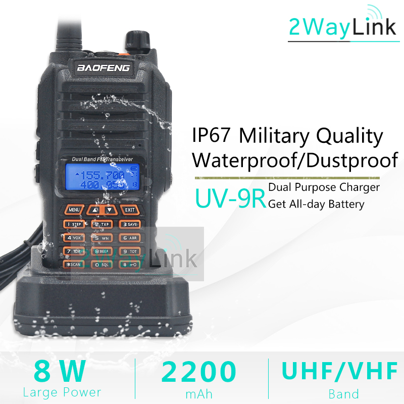 8W Baofeng UV-9R IP67 Waterproof Dual Band 136-174/400-520MHz Ham Radio Walkie Talkie 10 KM UV-9R Plus UV-XR BF-A58 Series UV 9R(China)