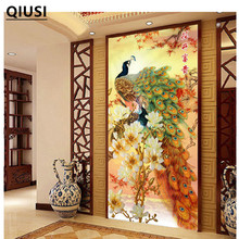 121*60cm Needlework,DIY Cross stitch, Embroidery kit,Gold Fortune peace bird peacock print pattern Cross-Stitch animal decor