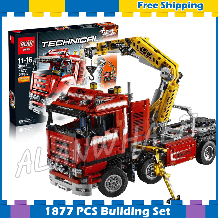 1877pcs 2in1 Techinic Motorized Crane Arm Truck Duty Wrecker 20013 Model Building Blocks Gifts sets Carrier Compatible With lego 11types techinic power functions motorized moc m l xl servo motor battery box model building blocks toy set compatible with lego
