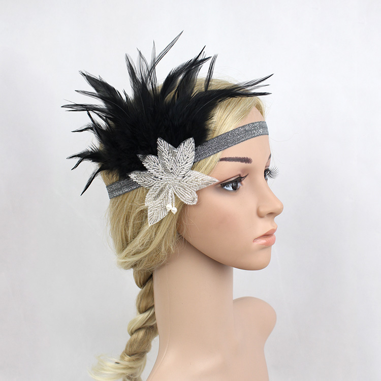 Vintage Black Silver Crystal Beading Feather Headpiece Flapper Headband 1920s 30s Great Gatsby Speakeasy Party