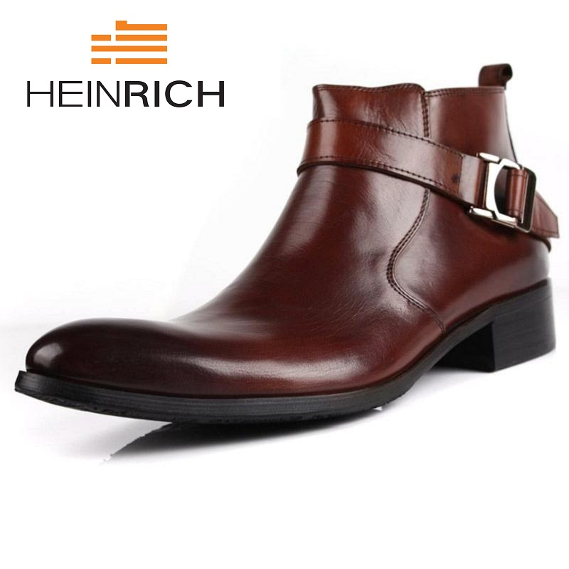 HEINRICH Autumn Wienter New Mens Genuine Leather Boots High Heels Business Anke Boots Men Pointed Toe Chelsea Boots Botte