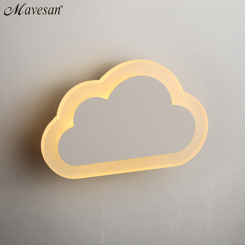 ФОТО Modern LED Wall kids'Bedroom Lamp 13W Wall Sconce White Indoor Lighting Lamp with clouds shape