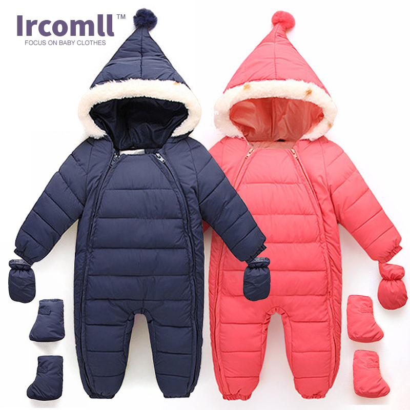 ФОТО Down Cotton Baby Rompers Winter Thick Boys Costume Girls Warm Infant Snowsuit Kid Jumpsuit Children Outerwear Baby Wear 0-18m
