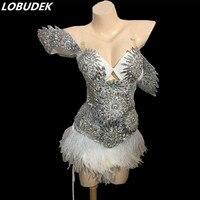 sexy nightclub bar Shining rhinestones bodysuit female costumes Bright Crystal jumpsuit dancer show party prom nightclub prom