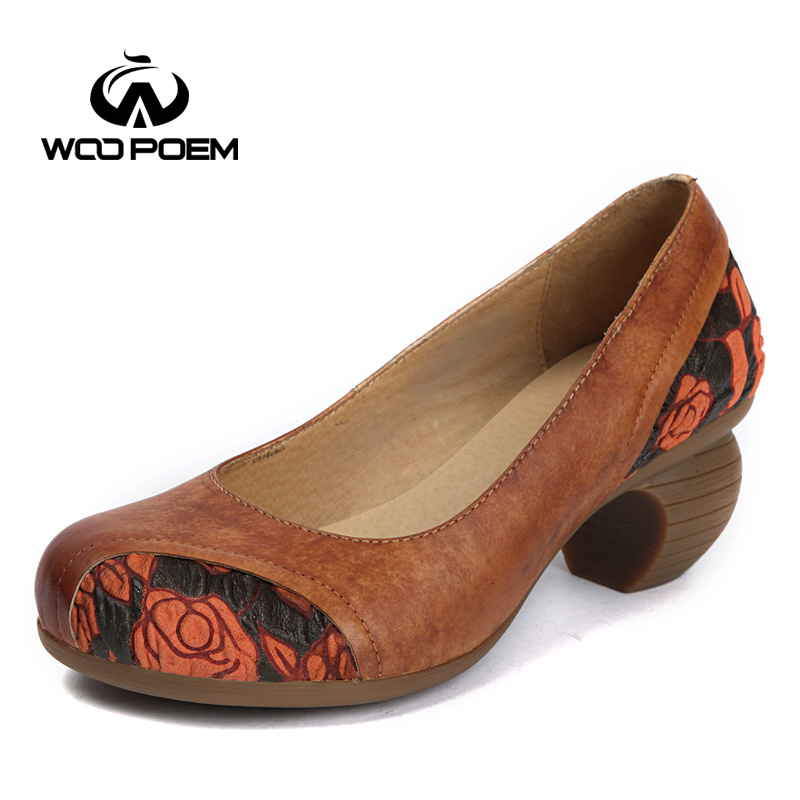 WooPoem Spring Autumn Shoes Woman Genuine Leather Pumps Wedges High Heels Shoes Classic Retro Cow Leather Women Shoes K168-36 247 classic leather