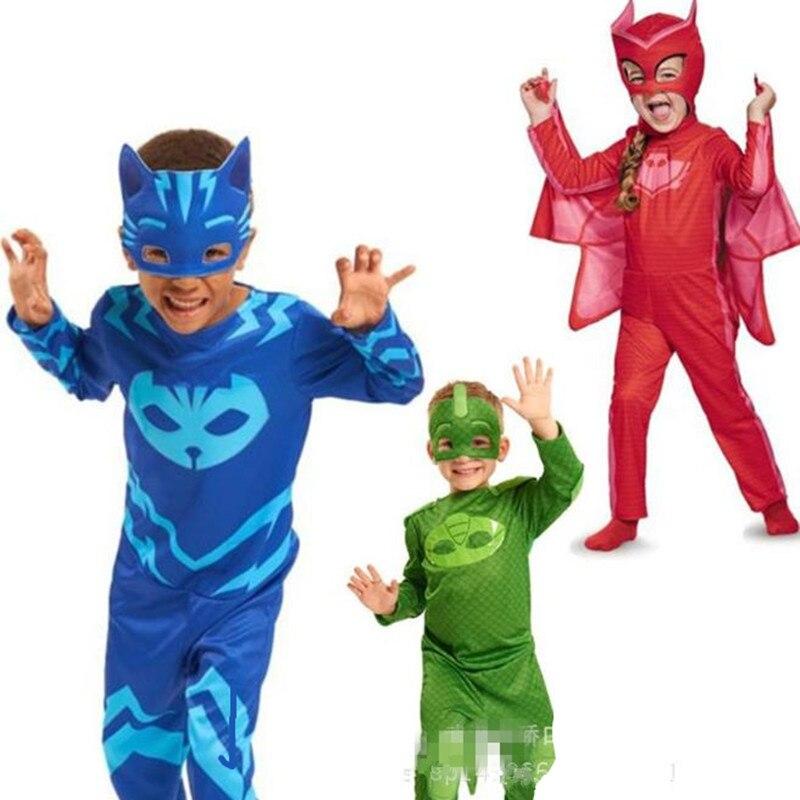 PJ de dibujos animados héroe Owlette héroe Amaya héroe Gekkocosplay Purim traje de fiesta de cumpleaños de Halloween chico traje