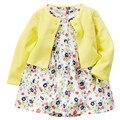 New Born Baby Girl Clothes Coat + Romper 2 pcs Bebê Roupas de Algodão Meninas Criança Macacão 2017 Primavera Vestidos de Meninas Macacão de bebê