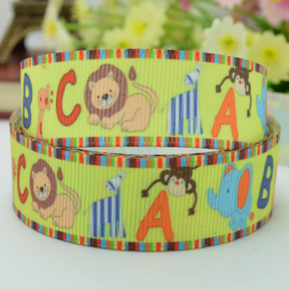 22mm cute little animal ABC material 7/8 new Printed Grosgrain Ribbons Single Face 100% Polyester