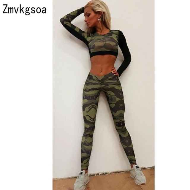 5e4ab1ad5868 Zmvkgsoa Camouflage Womens Jumpsuit Long For Women Fitness Clothing 2 Piece  Set Jumpsuits And Rompers Girls Bodycon Bodysuit V99