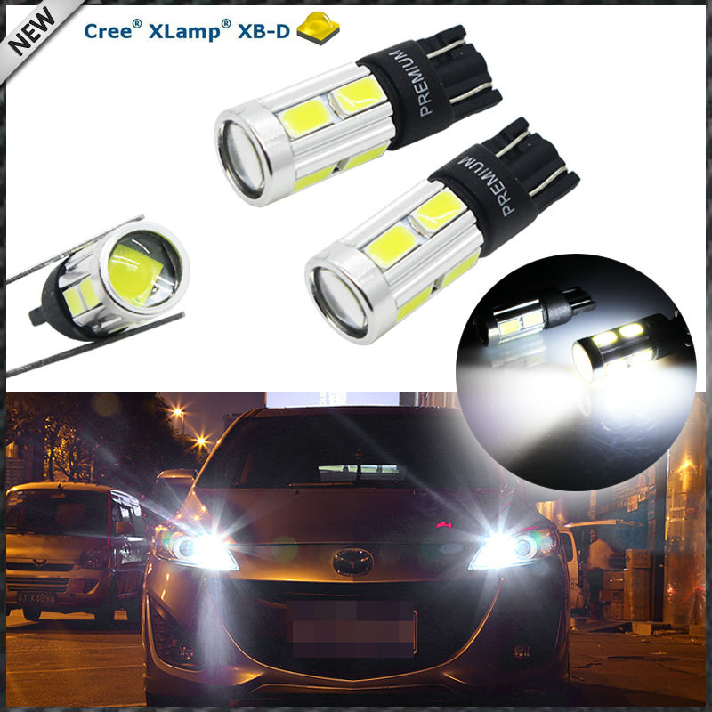 (2) 360 Degrees Xenon White 3W XBD w/ 8-SMD Error Free T10 W5W 168 194 2825 912 921 LED Bulbs For Parking Postion Lights cn360 4pcs extremely bright 3014 chipsets 194 168 2825 w5w t10 new style led bulbs xenon white 2 years warranty included