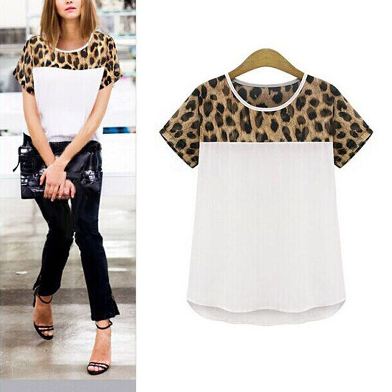 Women  Chiffon Leopard Print Blouses Summer  Patchwork Top Feminina Round Neck Short Sleeve Casual Clothing Blusas S-XXL