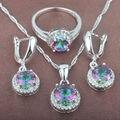 Clásico Arco Iris Multicolor Cubic Zirconia Mujeres Pendientes de 925 Plata de La Joyería Collar Colgante Anillos Envío Gratis TZ081